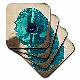 3dRose cst_37943_3 Teal Poppy-Flowers-Art-Nature-Ceramic Tile Coasters, Set of 4
