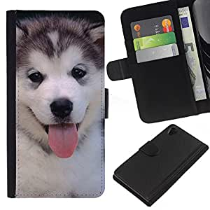 eJoy---La carpeta del tirón la caja de cuero de alta calidad de la PU Caso protector - Sony Xperia Z2 D6502 - --Husky Siberian Dog Cute Puppy