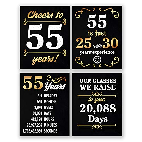 8x10 55th Birthday Decoration - Set of 4 Art Prints For Men and Women // Cheers to 55 Years Sign // Black and -