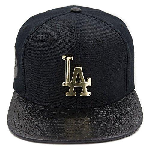Pro Standard Men's MLB LA Dodgers Metal Plate Buckle Back Hat W/Pins Black -