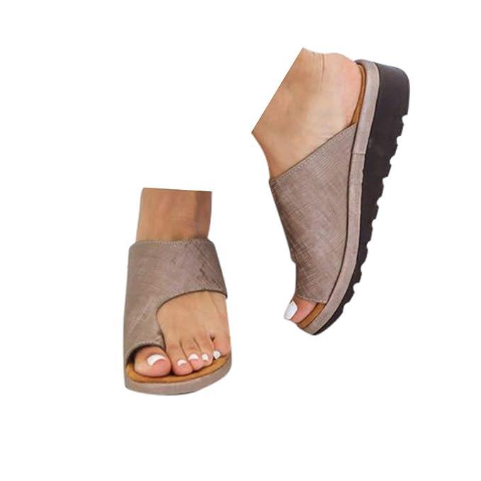 a8a8310b49f8a Veodhekai Womens Flats Wedges Sandals Retro Open Toe Ankle Roman ...
