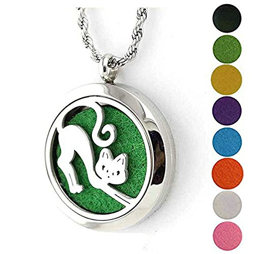Cute Halloween Comments (Aromatherapy Essential Oil Diffuser Necklace - Cute Cat Stainless Steel Perfume Locket Gift Set By JAOYU)