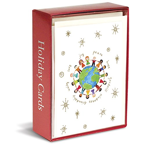 (Graphique Multicultural Holiday Greeting Cards - 15 Durable Holiday Cards with Stars Embellished with Gold Foil, Matching Envelopes and Box, 4.75