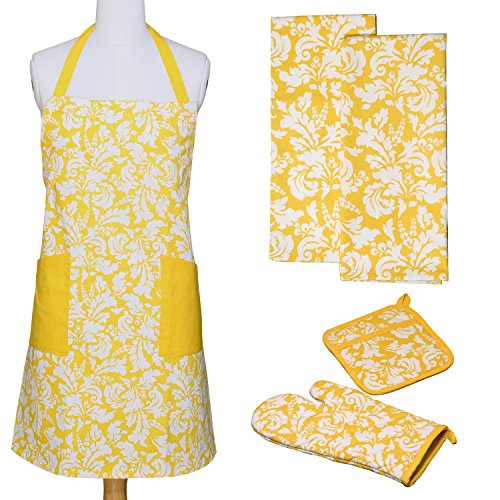 Yellow Gift (Yourtablecloth Kitchen Gift Set-1 Kitchen Apron, An Oven Mitt & A Pot Holder-2 Kitchen Dish Towels or Tea Towels-Ideal Cooking Gifts or Gift Ideas for Chefs-Suitable for Men & Women-Marigold)