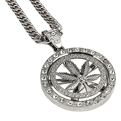 - Hip Hop 18K silver Plated Whirligig Spin Hemp weeds Leaf Necklaces Men Women Charm Crystal Weed Chains