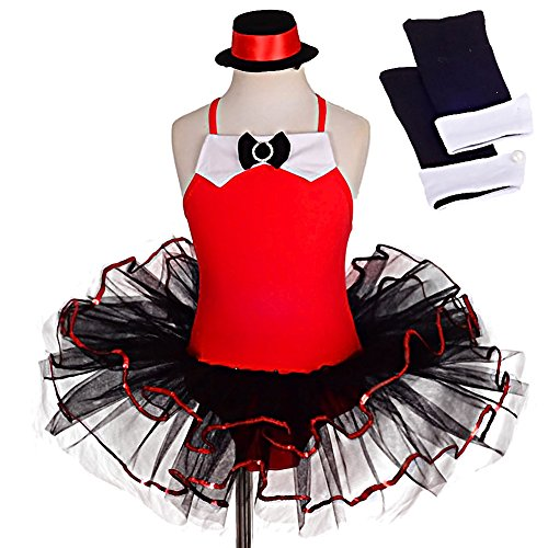 Dressy Daisy Girls' Jazz Fancy Party Dress Arm Mitts Halloween Costume Ballet Tutu 5-6 Red