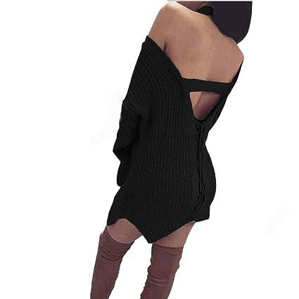 b727ebcdac3bd Amazon.com  Franterd Women Bandage Backless Knit Sweater Dress Casual Plus  Size Pullover  Franterd  Arts