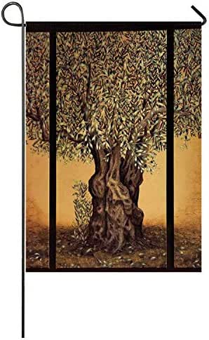 C COABALLA Tree of Life Utility Garden Flag,Triptych of an Old Mature Olive Tree Mediterranean Greece Style Nature Graphic Decor for Home,40