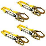 KwikSafety (Charlotte, NC) BOA (4 PACK) Single Leg 6ft Tubular Stretch Safety Lanyard | OSHA ANSI Fall Protection | EXTERNAL Shock Absorber | Construction Arborist Roofing | Snap Rebar Hook Connectors