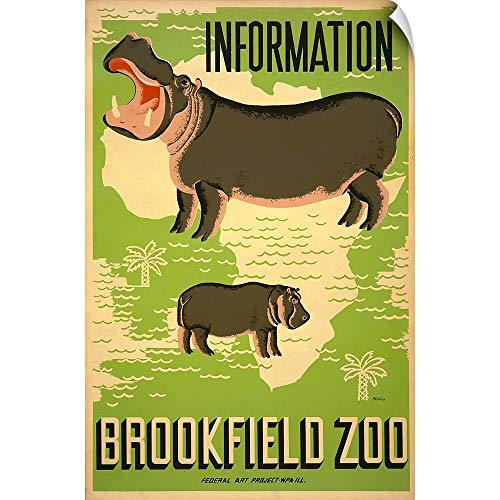 CANVAS ON DEMAND Mildred Waltrip Wall Peel Wall Art Print Entitled Information, Brookfield Zoo - WPA Poster 12