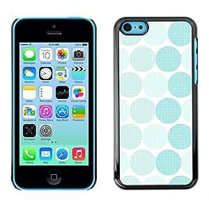 TopCaseStore / la caja del caucho duro de la cubierta de protección de la piel - Polka Dot Pattern White Teal - Apple iPhone 5C