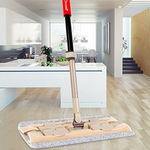 Elvoes Microfiber Flat Mop, Professional 360 Degree Wet and Dry Mop, Adjustable Floor Mop for Bathroom, Kitchen, Tile and Hardwood Floor Cleaning - Rust Vinyl Flooring