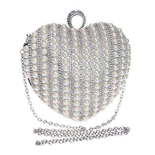 Bride Silver Color Bag Handbag Silver Dress Messenger KERVINFENDRIYUN Clutch Purse Bag Heart Pearl Shape Ladies Evening Banquet g8gHwZ