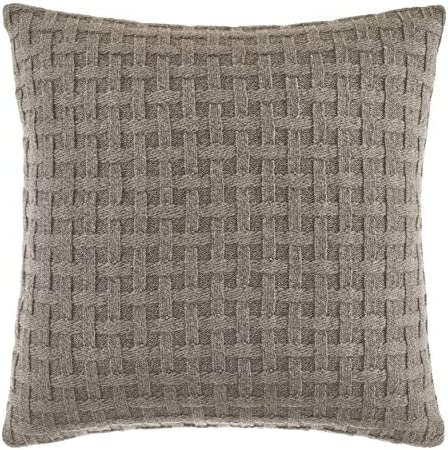 Nautica Saybrook Collection 100 Cotton Twill Basket Weave Knit Reversible Decorative Accent Throw Pillow Sham, Zipper Closure, 16 x 16 , Mocha