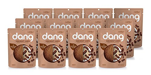 Dang Gluten Free Toasted Coconut Chips, Chocolat Sea Salt, 1.43oz Bags, 12 Count Bundle