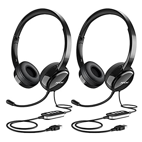 Mpow (2-Pack) USB Headset/ 3.5mm Computer Headset with Microphone Noise Cancelling, Lightweight PC Headset Wired Headphones, Business Headset for Skype, Webinar, Phone, Call (Usb Headset Noise Cancelling)