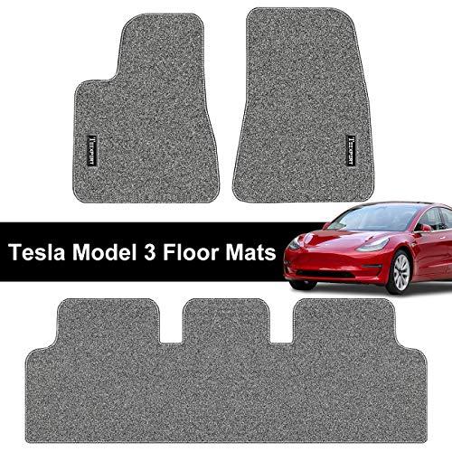 Tesla Model 3 Floor Mats Set All Weather Custom Fit Heavy Duty Floor Protection 2017-2019 (Gray)