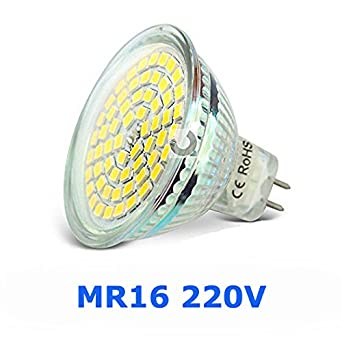6 X Bombillas LED GU5.3 MR16 220-240V blanco frío 6000K, 4W (equivalente a 50W) 320lm, ángulo de haz 120°: Amazon.es: Iluminación