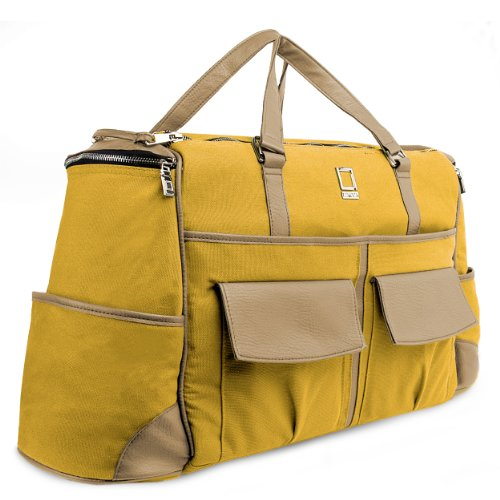 - Executive Lencca Alpaque Overnight Duffel Bag (Mustard Yellow/Cool Camel)