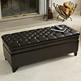 Brown Leather Tufted Ottoman Christopher Knight Home 238462 Barton Tufted Espresso Leather Storage Ottoman, Brown