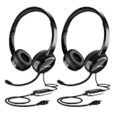 Mpow USB Headset/ 3.5mm Computer Headset with Microphone Noise Cancelling , Lightweight PC Headset Wired Headphones, Business Headset for Skype, Webinar, Phone, Call Center (2 Black)