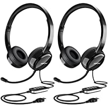 Mpow (2-Pack) USB Headset/3.5mm Computer Headset with Microphone Noise Cancelling, Lightweight PC Headset Wired Headphones, Business Headset for Skype, Webinar, Phone, Call Center