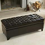 Christopher Knight Home 238462 Barton Tufted Espresso Leather Storage Ottoman, Brown