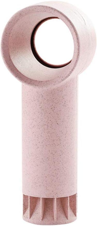 Pink 17.3/×6.5/×5.5CM DSstyles Mini Cute Portable USB Rechargeable Bladeless Fan Handheld No Fan-Leaf Cooling Desktop Fan Round Head