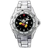Fashion Men Watch PE121 Mickey Mouse All Black Running Joyful Smile Stainless Steel Wrist Watch