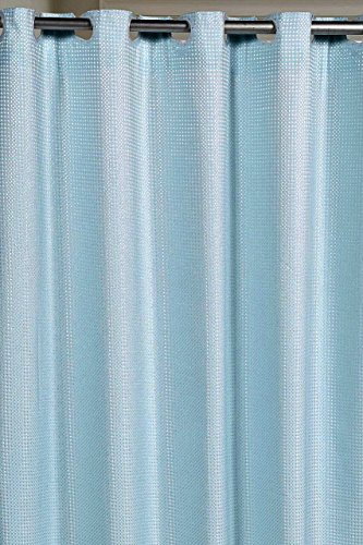 Pre-Hooked No Hooks Needed! Waffle Weave Fabric Shower Curtain with Snap-In Fabric Liner - Spa ()