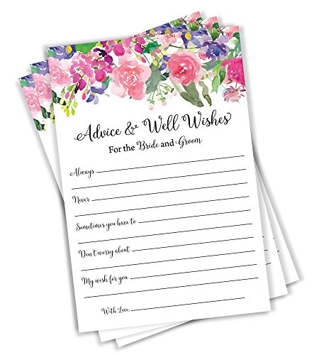(Wedding Advice and Well Wishes - Floral Watercolor Flower Roses Peonies Guest Book Alternative Rustic Vintage (50-Cards))