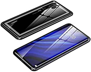 For Huawei P30 Pro Magnetic Case, Magnetic Adsorption Technology Metal Frame Case Aluminum 9H Tempered Glass Back Cover - Black