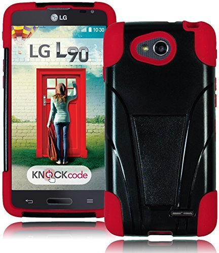 Bastex Rugged Heavy Duty Hybird T-Stand Case for LG Optimus L90 D415RD - Red Silicone Cover with Black Hard T-Stand Shell