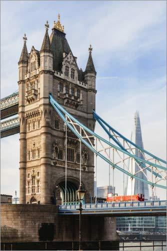 Posterlounge Holzbild 120 x 180 cm: Tower Bridge und Shard in London von Matteo Colombo