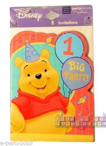 Winnie the Pooh '1 Year Happy' Invitations w/ Env. (8ct)]()