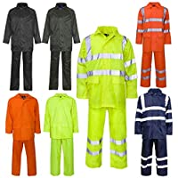 FASHION FAIRIES Mens Long Sleeves Reflective Tape Safety Rainsuit Adults Hi Viz Work Wear Dress