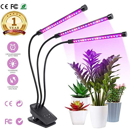 Plants Grow Light,2019 Newest Plant/Led Grow Lights for Indoor Plants,Super Bright 100 LEDs Sunlike Full Spectrum Grow Lamp, Dual Head Gooseneck Desk Plant Light with 2-Switch, Replaceable Bulb (Best Indoor Grow Lights 2019)