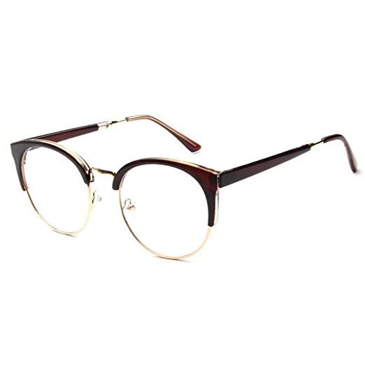 429e6bfd24 Fulision Men Women Eyewear Vintage Retro Cat s eye Half Frame Clear Lens  Glasses at Amazon Women s Clothing store