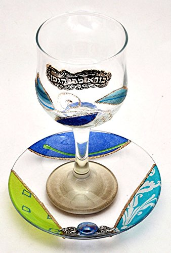 Shabbat Kiddush Set Cup & Plate Crystal Glass Hands Made By Lili Art Design ()