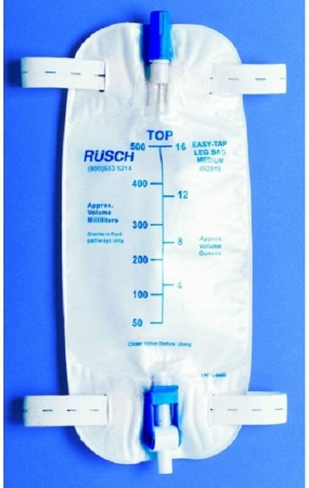 Teleflex Medical Inc Easy-Tap Leg Bag with Extra 18 Inch PVC Extension Tubing 16.9 Ounce, Sterile, Latex-Free (Pack of 5)