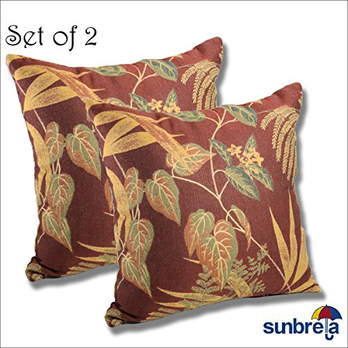 SET OF 2 Sunbrella Outdoor Indoor THROW PILLOW 15.5×15.5 Autumn Leaves by Comfort Classics Inc.