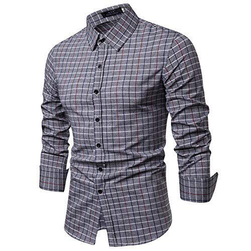 (WOCACHI Final Clear Out Mens Plaid Button Shirt Checkered Lattice Long Sleeve Fit Bottoming Tops Black Friday Cyber Monday Autumn Winter Long Sleeve Tops Pocket Solid Dress Shirts Down Twill Casual)