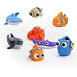 DBMART 8個セット お風呂おもちゃ シャワー プール 噴水 ファインディングニモ フルカラー ディズニー 魚 赤ちゃん 子供 プレゼント もえもえ 可愛い