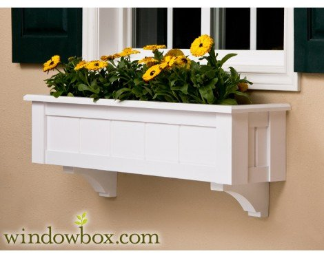 72 Inch Connecticut No Rot PVC Composite Flower Window Box w/ 2 Decorative Brackets by Windowbox