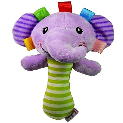 Interessant und kreativ Cartoon Tier Plüsch Hand Rasseln Baby Elefant Glocken Kinder Spielzeug (Lila)