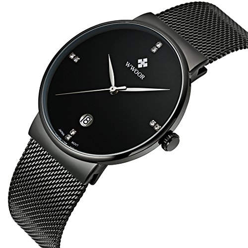 Date Round Wrist Watch (Men Casual Date Quartz Wrist Watches Gent Waterproof Sports Watch Elite Ultra Thin Clock WR-8018 (black))