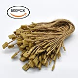 #3: Renashed Hang Tag String Hemp Twine String Snap Lock Pin Loop Fastener Hook Ties Easy and Fast to Attach 500 Pieces