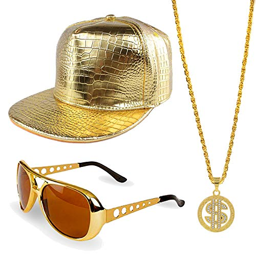 ZeroShop 80s/90s Hip Hop Costume Kit - Cotton Bucket Hat,Gold Chain Beads,Oversized Rectangular Hip Hop Nerdy Lens Sunglasses (OneSize, Gold2)