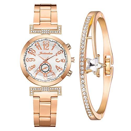 Damenuhren mit Strasssteinen eingelegt Minimalistische Damenuhren Paar Uhren Elegante wasserdichte Uhren Freizeituhren Damen Mädchen ultradünne Armband passend (Weiß)