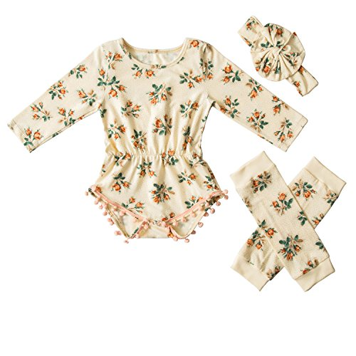 Messy Code Baby Girls Rompers Onesies Pompom Jumpsuits set,Boutique Cream Yellow Pink Flower Large / 18-24Month